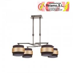 LAMPARA 4DH BREMEN CUERO/MARRON-ORO 4XE14 REGX60D